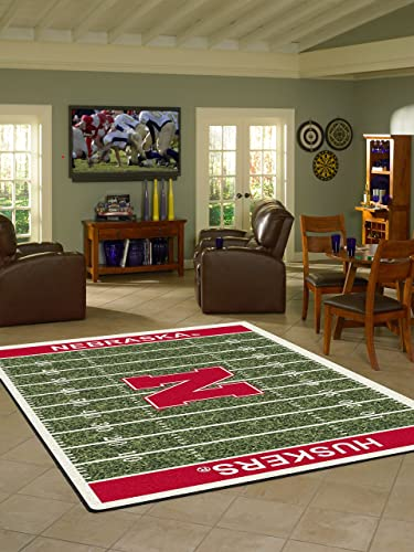 Nebraska College Home Football Field Rug 5 4 x7 8