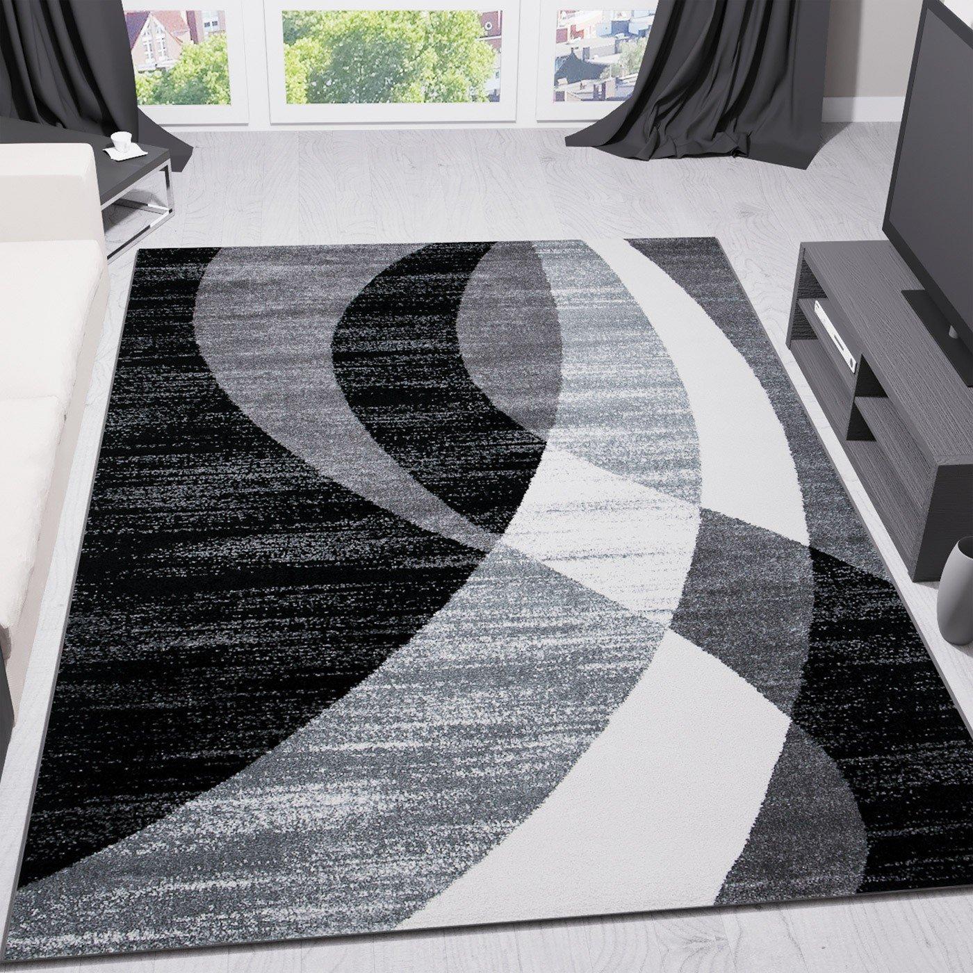 VIMODA Teppich Modern Design Schwarz Grau Weiß Kurzflor Geschwungene Streifen - Pflegeleicht und Top Qualität, Maße 200x290 cm