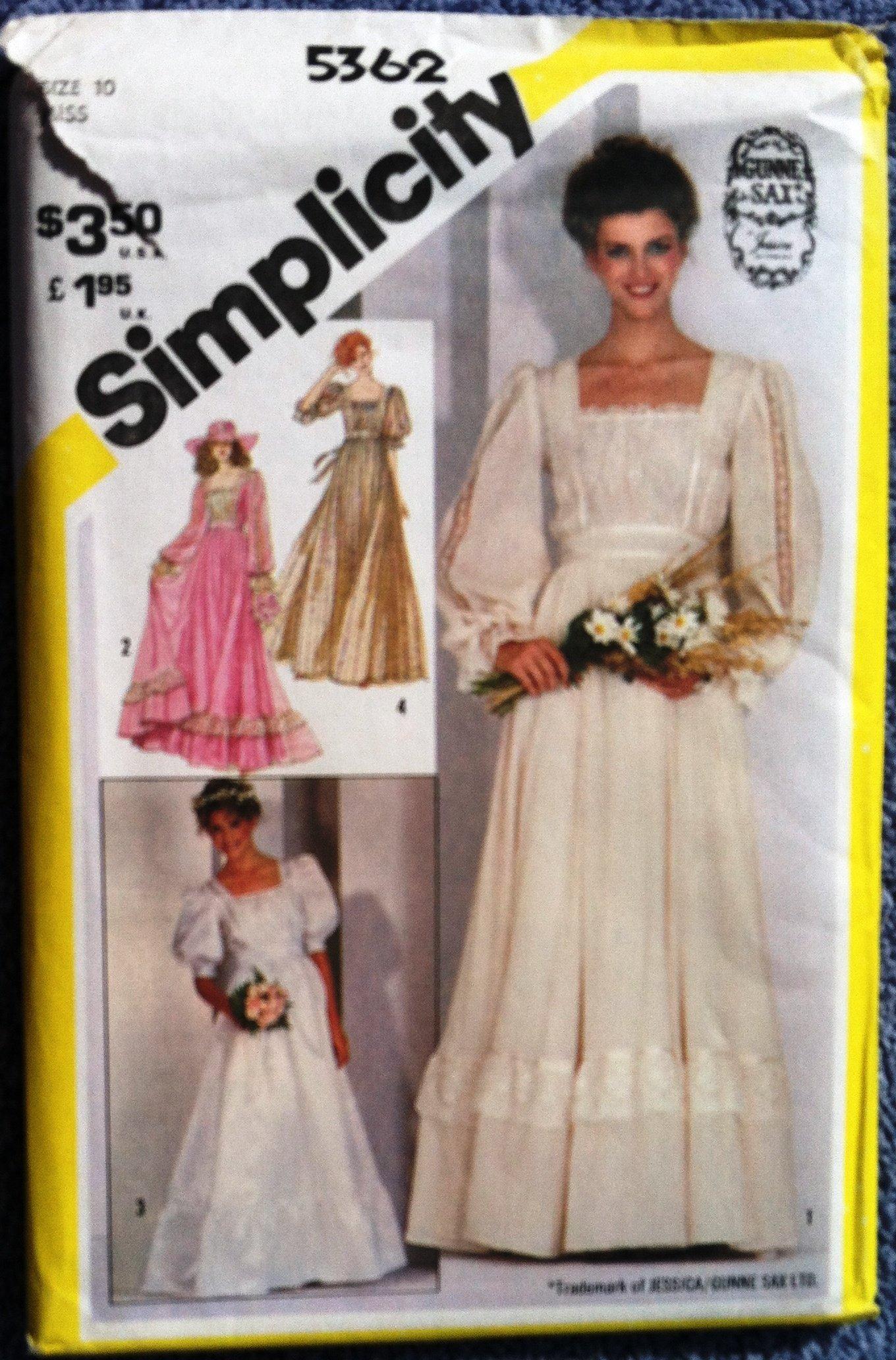 Simplicity 5362 Jessica Mcclintock Gunne Sax Misses Size 10 Wedding Dress Bridesmaid Gown Sewing Pattern Simplicity Amazon Com Books