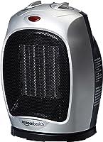 Calentador de Espacio de Cerámica oscilante AmazonBasics de 1500 vatios con termostato Ajustable - Plata