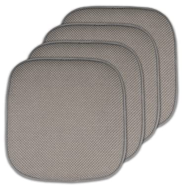 Sweet Home Collection Memory Foam Chair Cushion Honeycomb Pattern Solid Color Slip Non Skid Rubber Back Ultimate Comfort and Softness Rounded Square 16  x 16  Seat Cover, 4 Pack, Silver