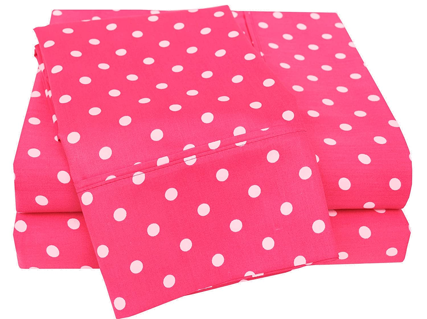 Pink Twin Superior Polka Dot Sheet Set, 600 Thread Count Cotton Blend Bedding Sets, Soft and Wrinkle Resistant Sheets with Deep Fitting Pockets - Queen, Grey