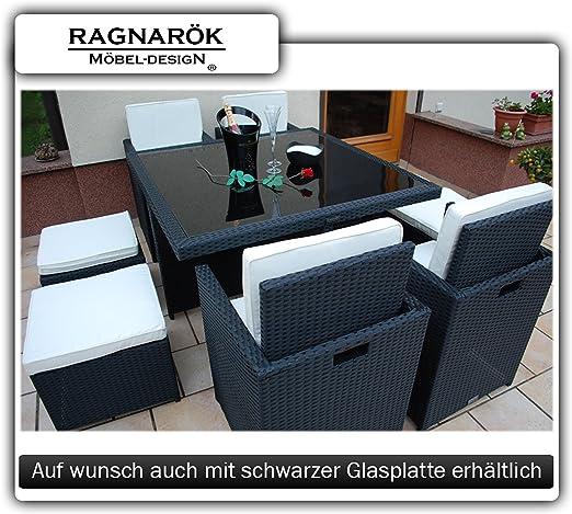 Muebles de jardín, mesa con 4 sillas y 4 taburetes, ratán sintético, fabricación propia, incl. cristal y cojines, negro: Amazon.es: Jardín