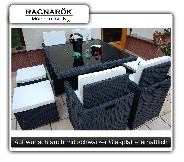 Gartenmöbel PolyRattan Essgruppe Tisch mit 4 x Stuhl & 4 Hocker ...