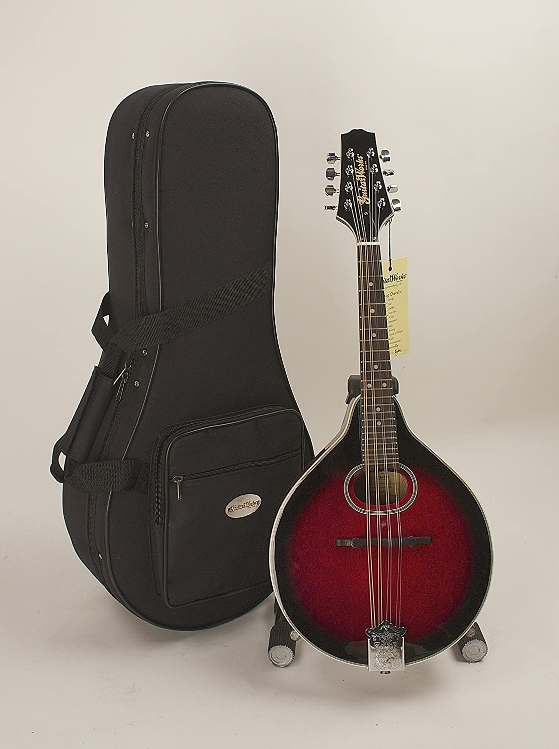 A-Style Mandolin Oval Soundhole Dark Wineburst Finish Set-Up & Adjusted In My Shop For Easy Play Strap And Hard Featherlte Case Included Guitar Works Inc.