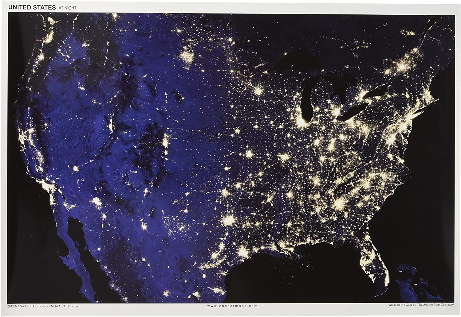 Us Night Light Map Amazon.com: 13x19 Anchor Maps United States at Night Poster