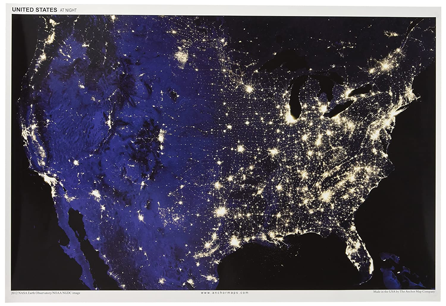 Amazon.com : 13x19 Anchor Maps United States at Night Poster ...