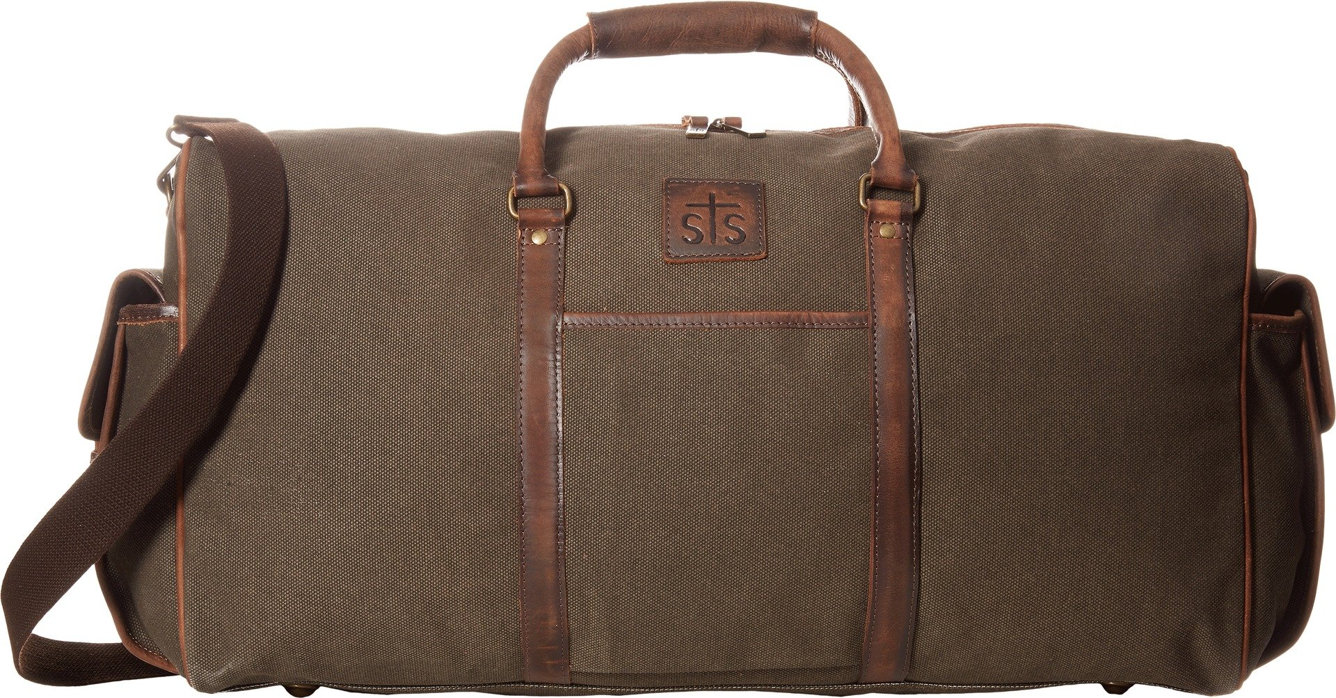 STS Ranchwear  Men's The Foreman Duffel Bag Dark Khaki Canvas/Leather One Size