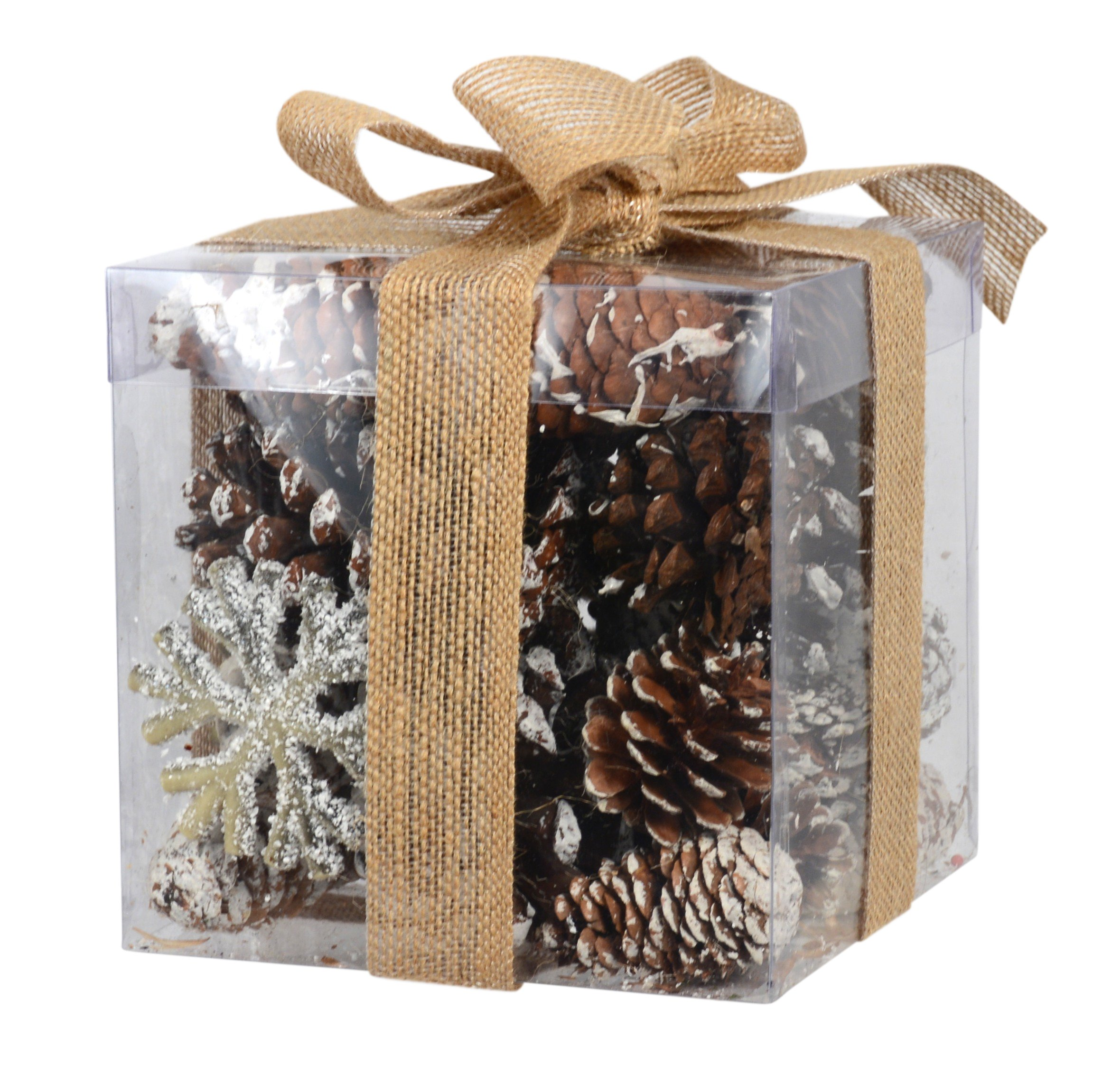 Assorted Snow Frosted Pines Cone and Glittered Snowflakes Bowl and Vase Filler in Box 6 Inch x 6 Inch x 6 Inch