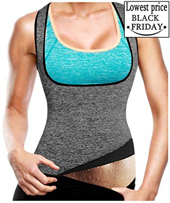5c0eb2fd3f Gotoly Sauna Hot Sweat Tank Top Neoprene Body Shaper Waist Trainer Long  Torso (Grey