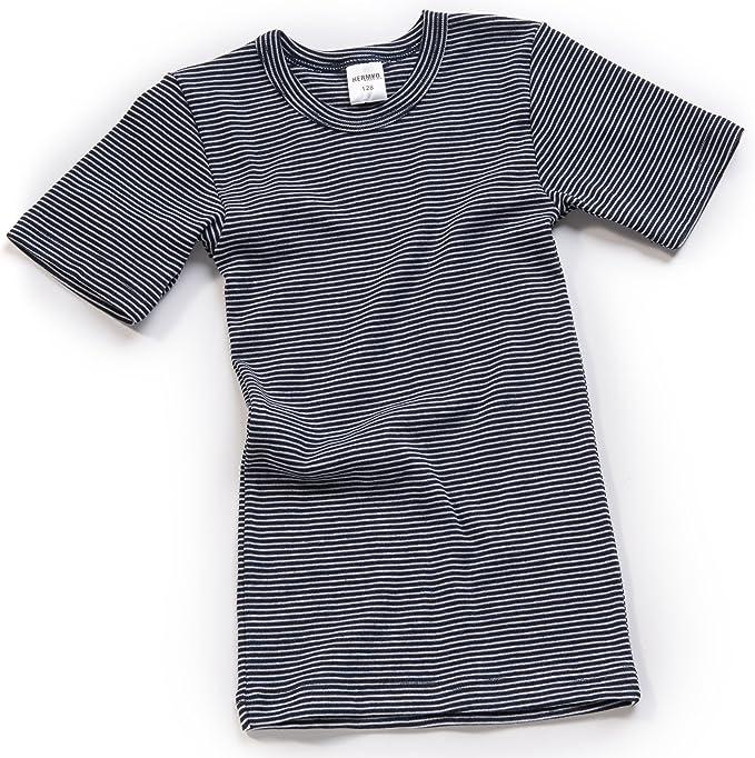 HERMKO 2681005 Camiseta de Manga Corta térmica para niños, Motivo de Rayas, Hecho de 67% algodón + 33% poliéster: Amazon.es: Ropa y accesorios