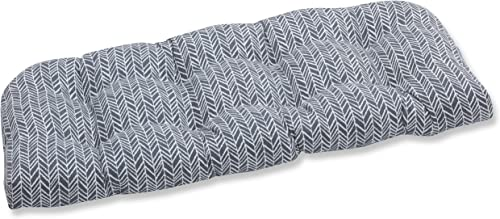 Pillow Perfect Outdoor Indoor Herringbone Slate Tufted Loveseat Cushion, 44 x 19 , Gray