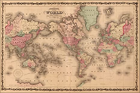 24x36 Poster; Johnsons World Map 1862 P2; Antique Reprint