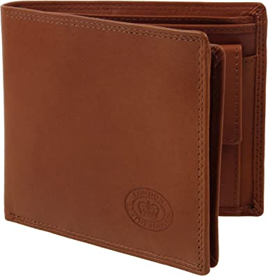 Mens Soft Bi-Fold LEATHER Wallet by Oakridge Gift Flip Out Section Card Slots