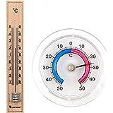 Set Bimetall Analog Fenster / Außen / Klebe und Holz Innen Thermometer aus Deutscher Herstellung