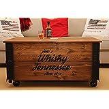 """Uncle Joe´s Couchtisch XL""""Whisky"""" Truhentisch Truhe im Vintage Shabby Chic Style aus Massiv-Holz in Braun mit Stauraum und Deckel Holzkiste Beistelltisch Landhaus Wohnzimmertisch Holztisch nussbaum"""