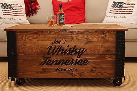 Uncle joes tavolino basso effetto baule in legno stile vintage