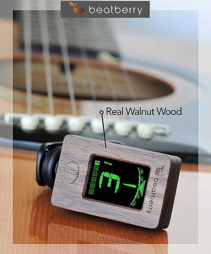 Afinador Cromático Beatberry Clip-On de madera, para guitarra, bajo, ukulele, banjo, violín. Con caja de regalo de alta calidad.