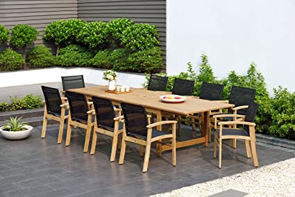 Amazon Com Brampton 11 Piece Outdoor Eucalyptus Extendable Dining