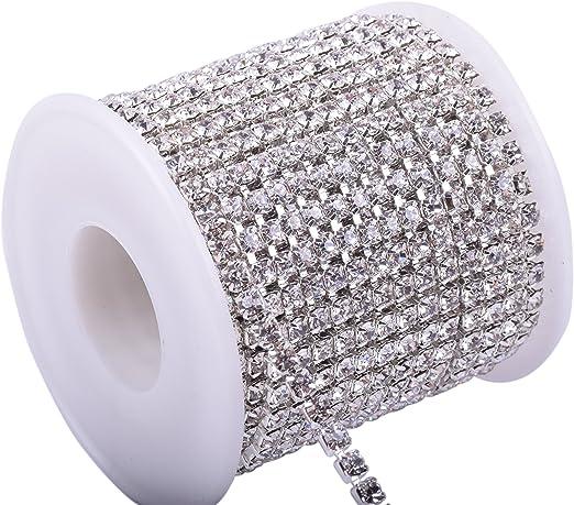 KAOYOO 10 Yards 4MM Crystal Rhinestone Close Chain Trim for Sewing Crafts,DIY Decoration(Silver)