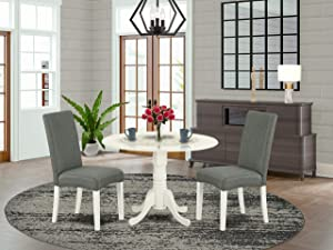 East West Furniture Round Dining Table Set 3 Pieces - Grey Linen Fabric Parsons Dining Chairs - Linen White Finish Solid wood two 9-inch drop leaves Pedestal Table and Frame