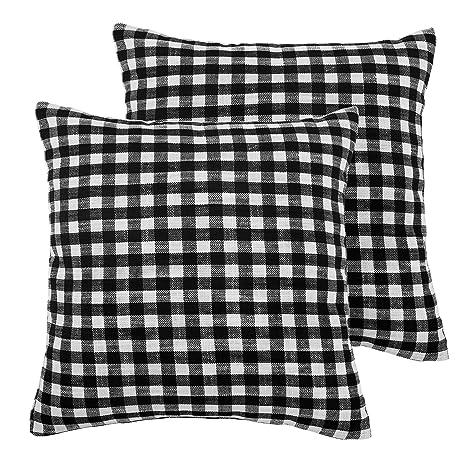 Deconovo Funda de Almohada para Cojín 45 x 45 cm Cuadrado Efecto Lino para Sofá Cama Hogar 2 Piezas Blanco y Negro