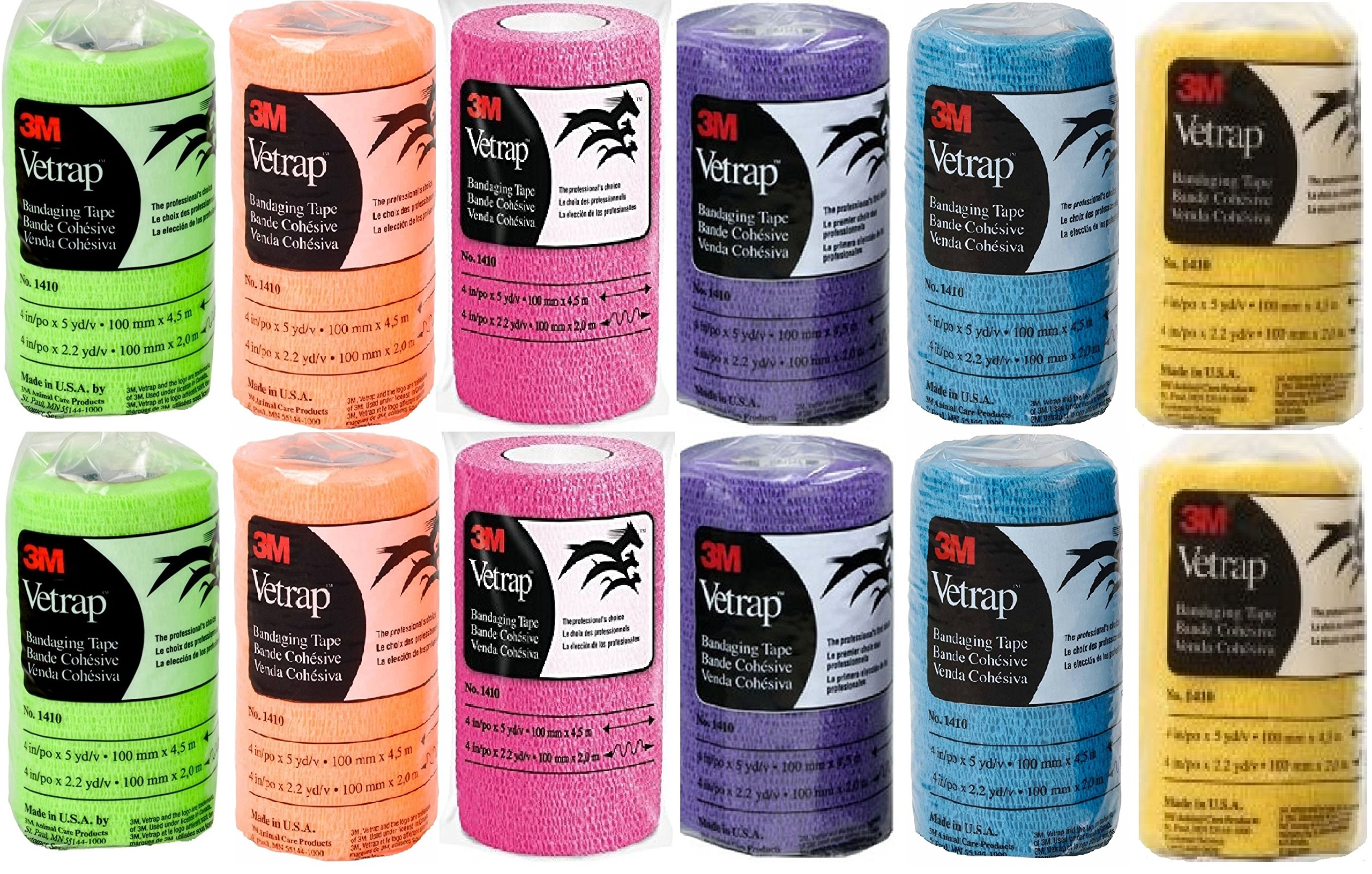 (12 Pack) 3M Company Vetrap Bandaging Tape, Assorted Colors (4'' x 5 YD)