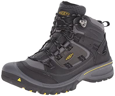 KEEN Men's Logan Mid Outdoor Boot, Black/Spectra Yellow, ...