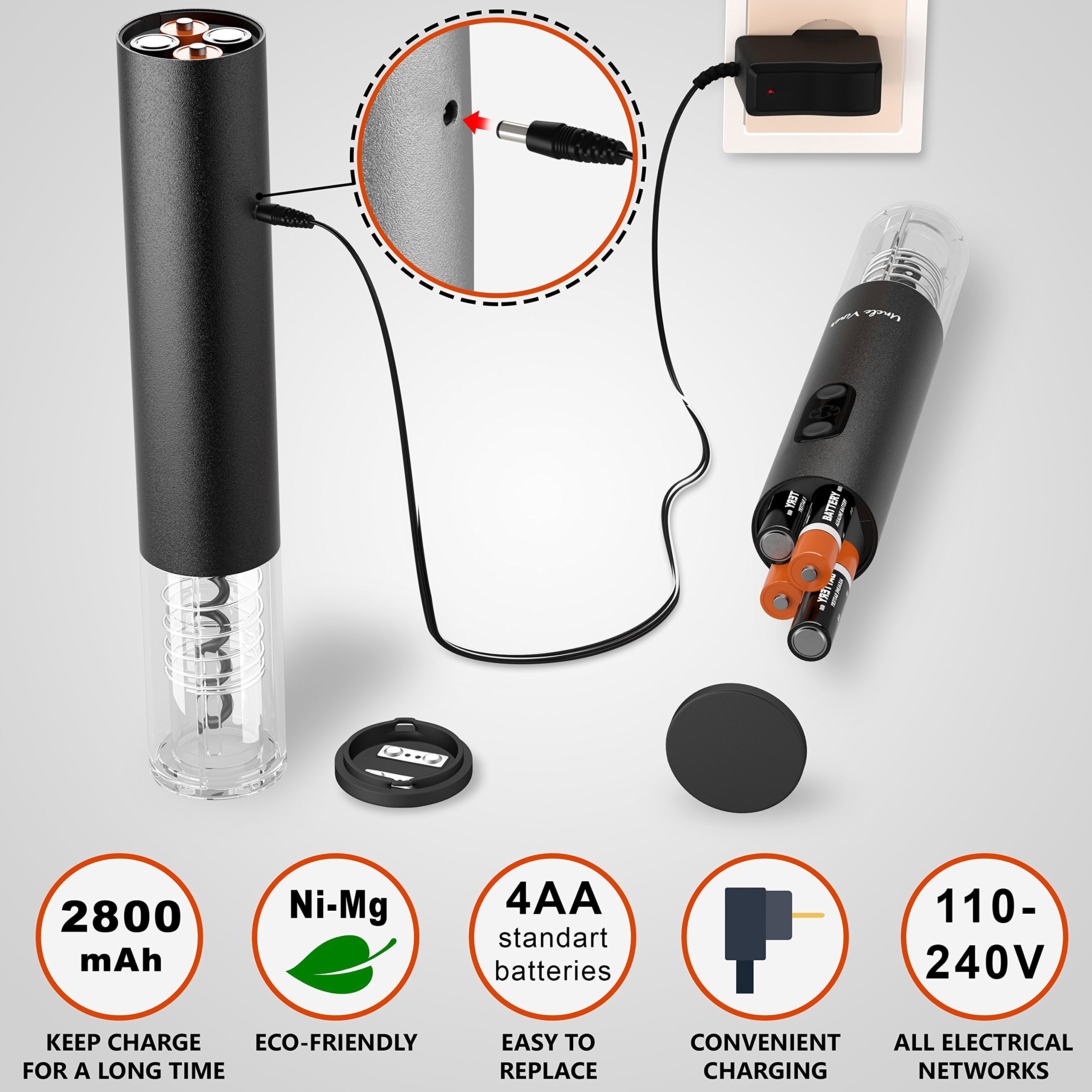 Electric Wine Opener With Charger Black Edition