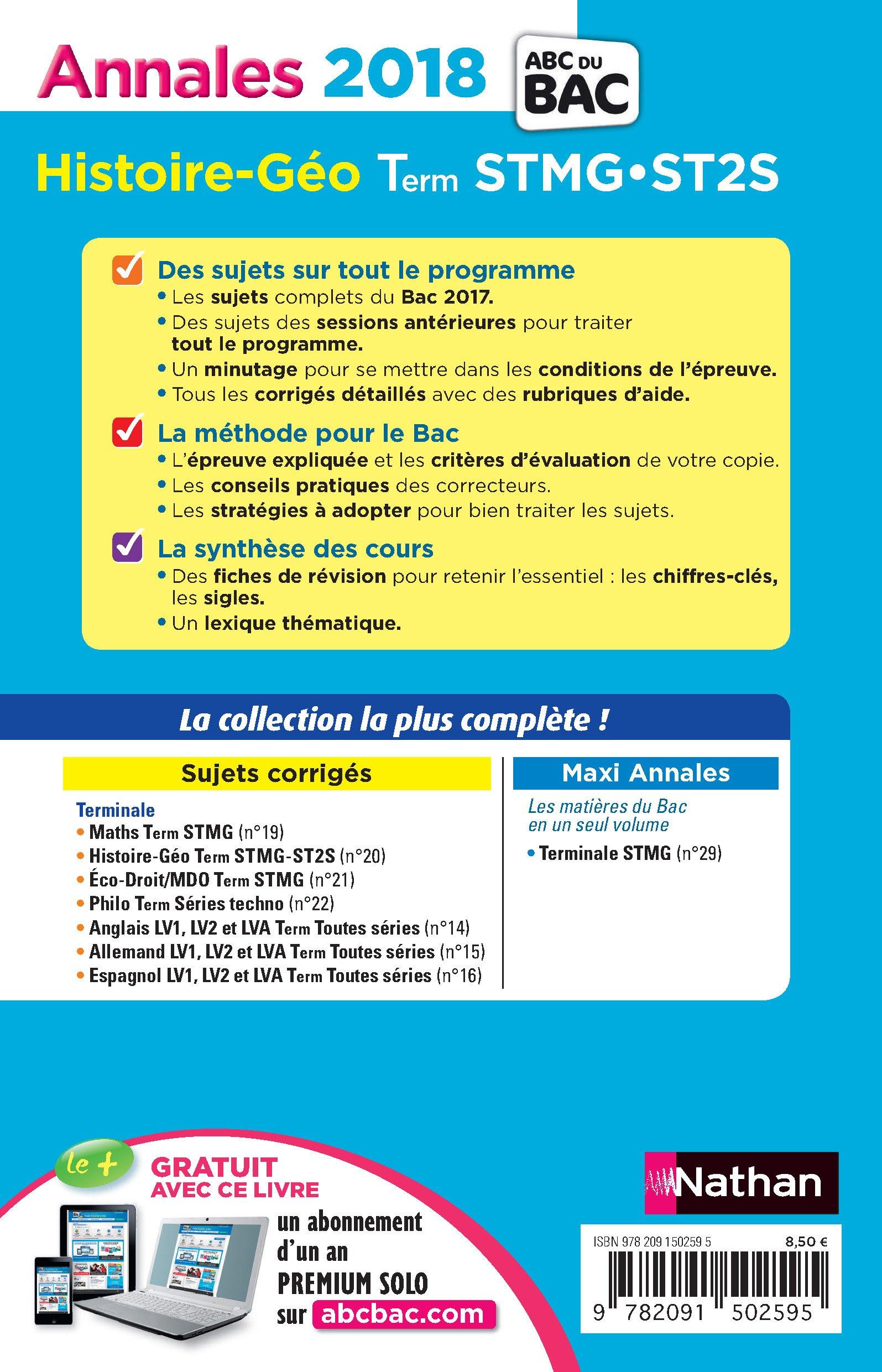 Histoire et géographie Tle STMG-ST2S : Sujets & corrigés: 9782091502595: Amazon.com: Books
