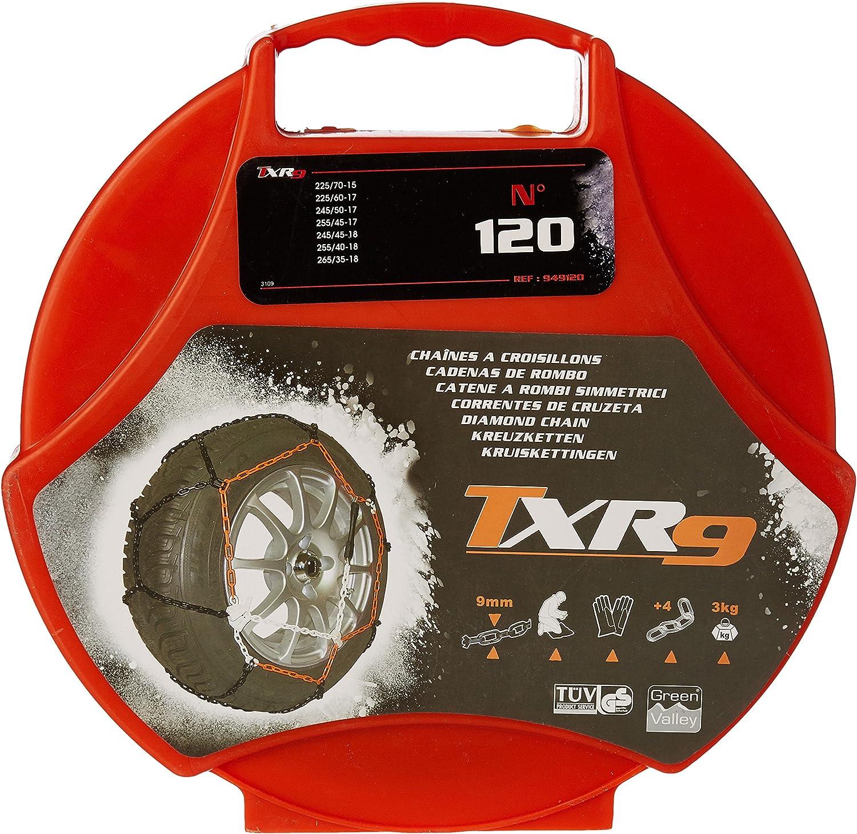 """Green Valley TXR9 Invierno 9mm CADENAS PARA LA NIEVE-Coche Neumático De 18/"""" ruedas 255//40-18"""