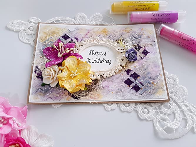 Handmade Greeting Card Gift For Her Happy Birthday Style Shabby Chic Flowers And Romantic