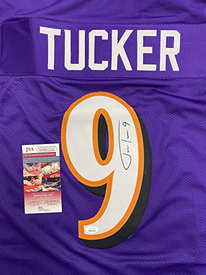 JUSTIN TUCKER SIGNED Autographed Custom Purple Jersey Jsa Coa