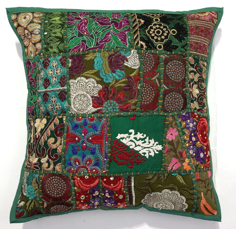 Handicraftsuk - Fundas de cojín, 2 unidades, diseño hindú, hechas a mano, clásicas, decorativas, diseño con lentejuelas y bordados, decoración ...