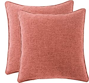 HPUK Pack of 2, Decorative Pillow Cover, Solid Color Pillowcase for Couch, Sofa, Bedroom, Car, Office, Holiday Decor, 17x17 inch, Coral