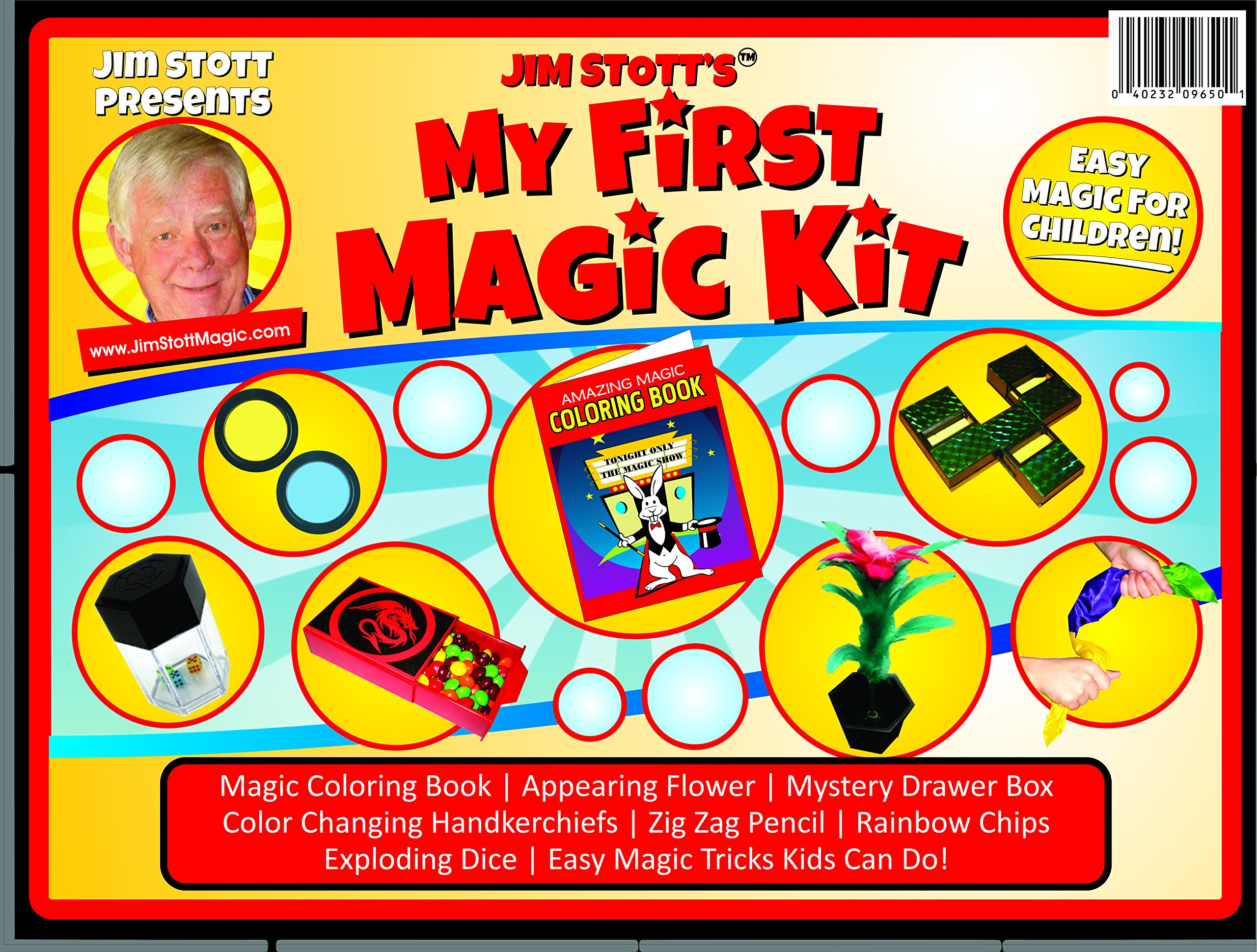 Jim Stott's 'My First Magic Kit' for Kids, Magic Tricks Set for Girls and Boys, Appearing Flower, Magic Coloring Book, Mystery Box, Color Changing Handkerchiefs, Exploding Dice, and More by Jim Stott Magic
