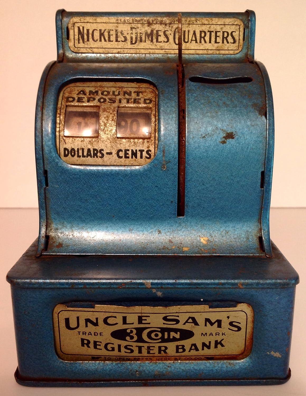 Amazon.com : Uncle Sam\'s 3 Coin Register Mechanical Bank Blue ...