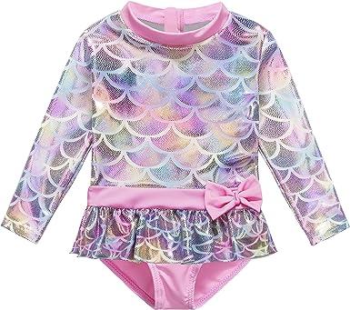 HUAANIUE Baby//Toddler Girl Swimsuit Rash Guard Long Sleeve UPF 50