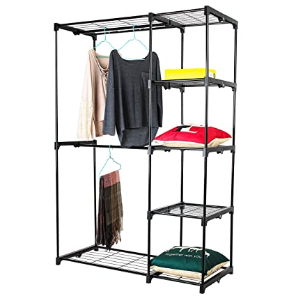 Jusdreen Closet Storage,Double Rod Freestanding Closet Systems Storage  Organizer Bedroom Clothes Wardrobe Hanger With