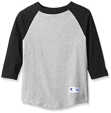 edc121c2 Champion Boys Boys' Big Raglan Baseball Tee, Oxford Gray/Black, Small