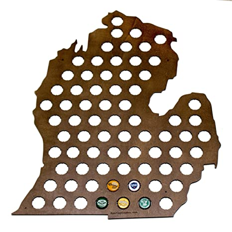 Amazoncom Michigan Beer Cap Map Holds Craft Beer Bottle Caps - Michigan bottle cap map