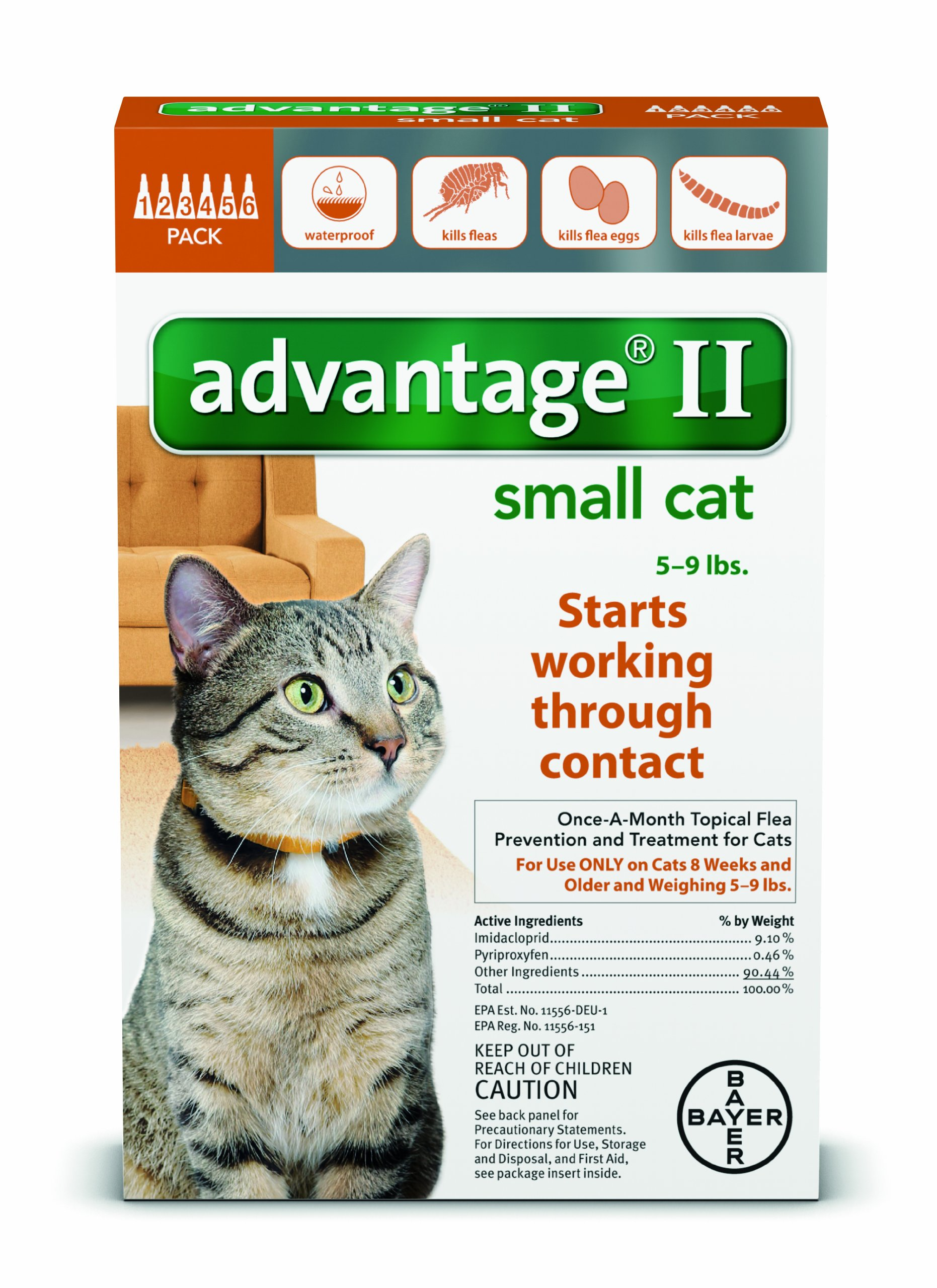 Advantage II for Small Cats 5-9 lbs by Bayer 12 Month Supply by Bayer Animal Health