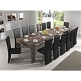Home innovation - Tavolo consolle allungabile fino a 301cm, rovere moro, dimensioni chiusa: 90 x 49 x 75 cm.