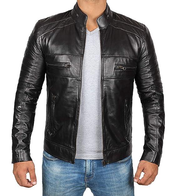 Amazon.com: Chaqueta de piel negra para hombre Café Racer ...