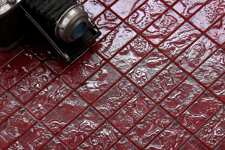 10cm x 10cm Glas Mosaik Fliesen Muster in Rot Texturiert Lava Baustein Effekt MT0123 Muster