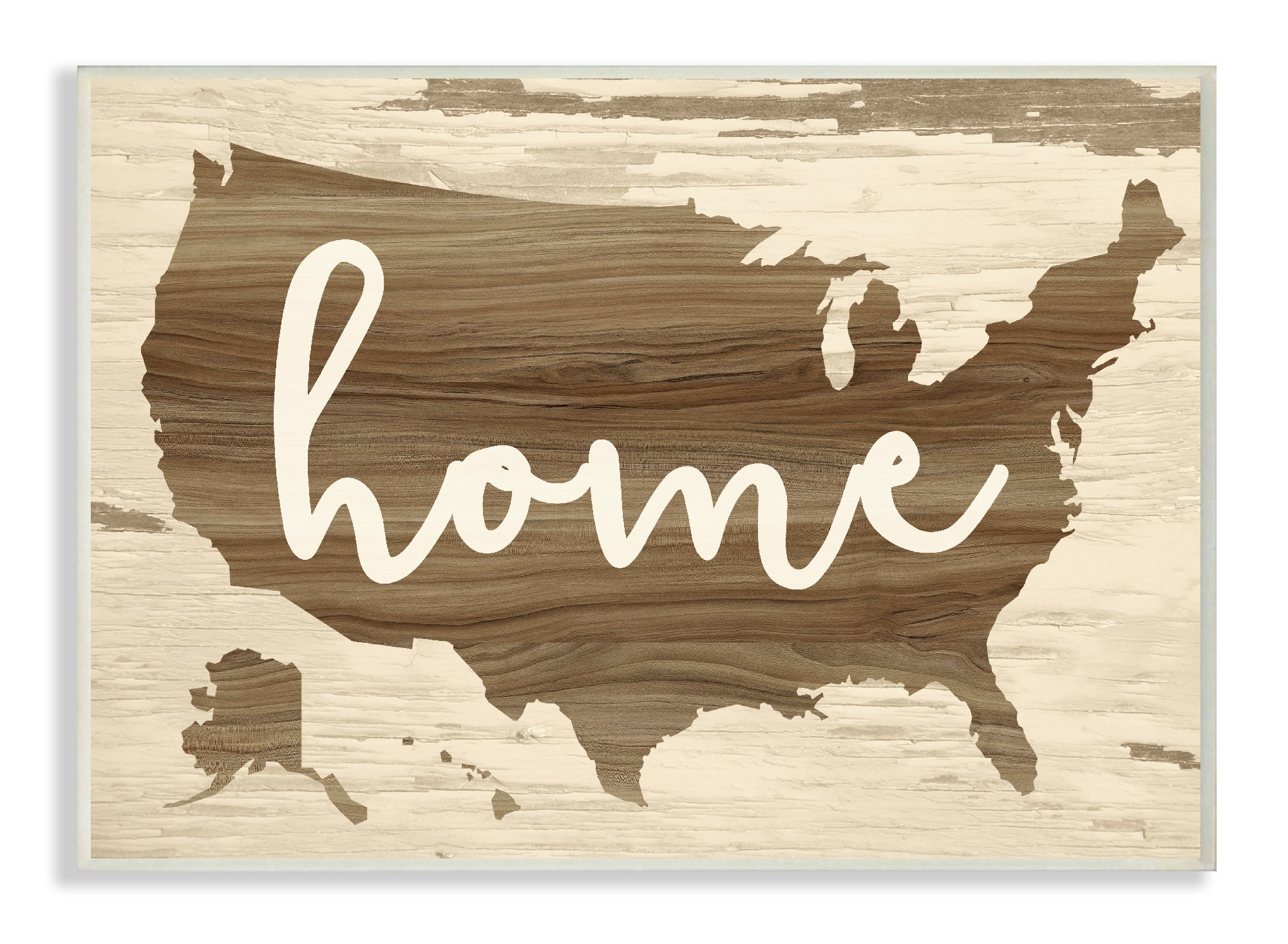 Stupell Home Décor Home Distressed Wood US Map Wall Plaque Art, 10 x 0.5 x 15, Proudly Made in USA