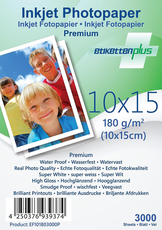 EtikettenPlus Ltd, 1000 Blatt, Premium Fotopapier, EF41801000P, A4 (210x297 mm) 180g qm hoch-glänzend (high-glossy), wasserfest, sofort wischfest für alle Tinten- und Fotodrucker B018NX29AO   Discount