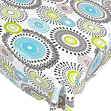 Whimsy Circle Contemporary Print Indoor/Outdoor Vinyl Flannel Backed  Tablecloth   52 X 52 Square