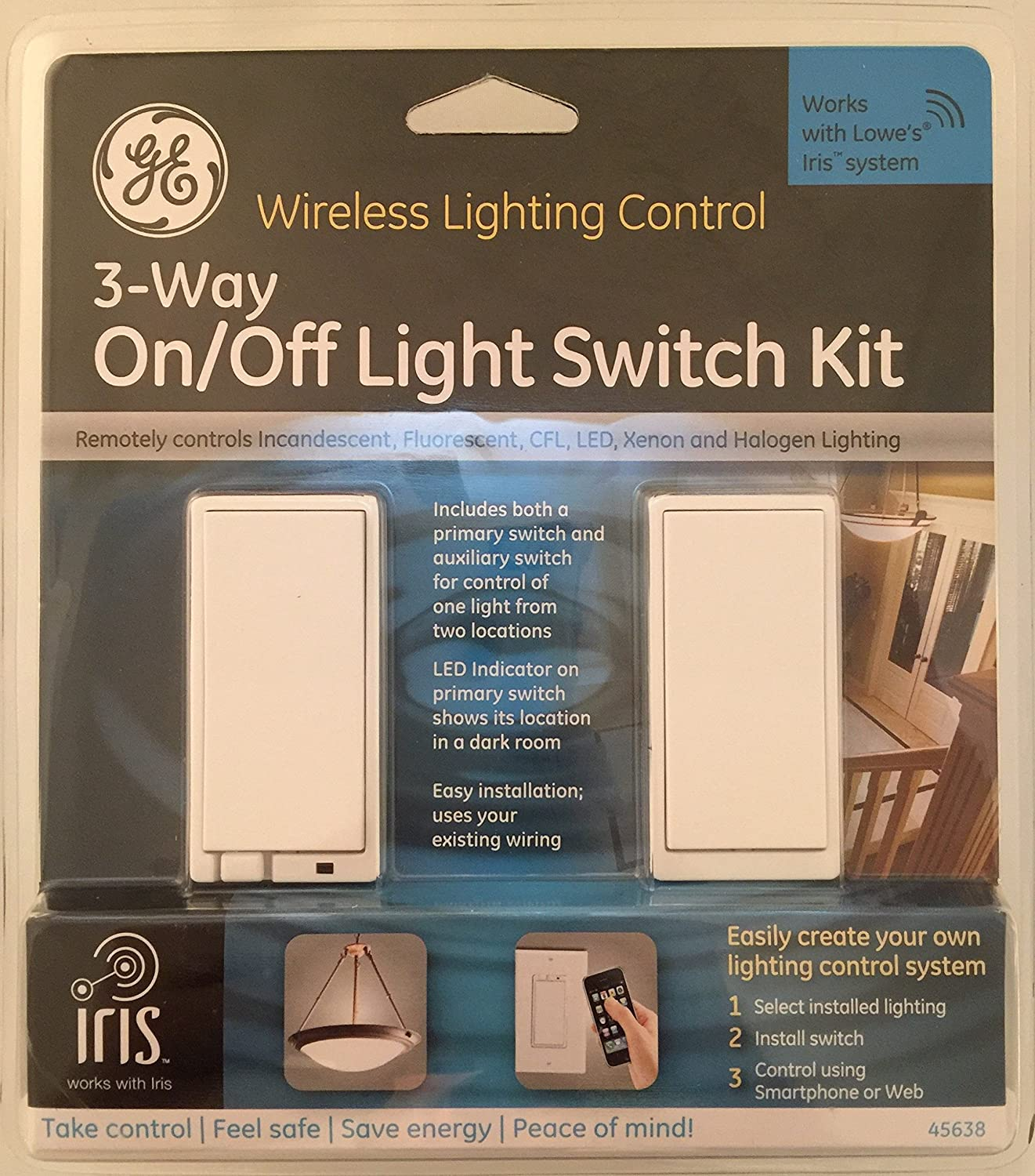 Ge 45638 2 Piece 15 Amp White 3 Way Decorator Light Switch With Iris Wiring Lights Between Switches Technology Wall
