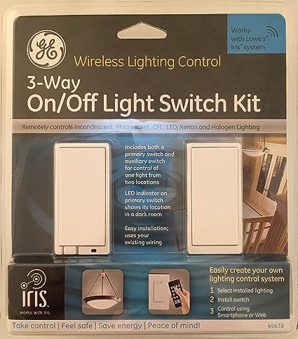 GE 45638 2Piece 15Amp White 3Way Decorator Light Switch with Iris